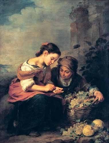 cuadros de retrato - Cuadro -Niñas contando monedas- - Murillo, Bartolome Esteban