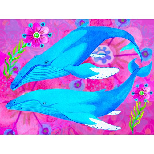 Quadro -Whales in Love, 2017 (mixed media)-