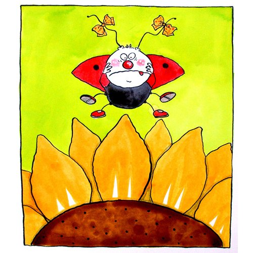 Quadro-Ladybird (w.c & ink on paper)-