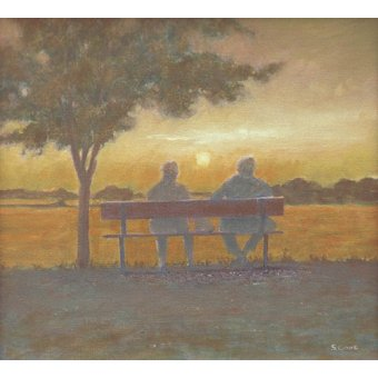- Quadro -Sunset (oil on canvas)- - Cook, Simon