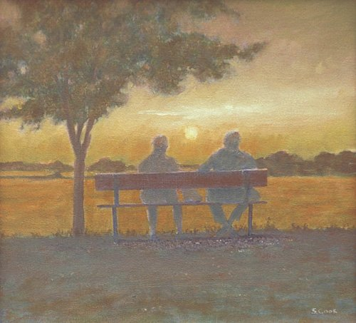 quadros-modernos - Quadro -Sunset (oil on canvas)- - Cook, Simon