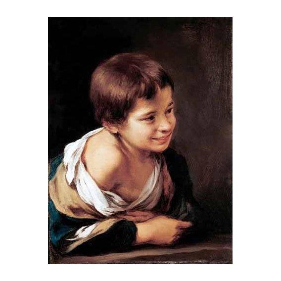 pinturas do retrato - Quadro -Niño apoyado en un alfeizar-