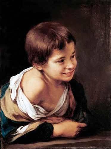 pinturas-de-retratos - Quadro -Niño apoyado en un alfeizar- - Murillo, Bartolome Esteban