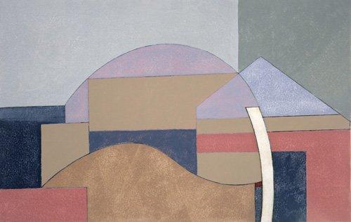 quadros-abstratos - Quadro -Farm End, 2002 (oil on board)- - Dannatt, George