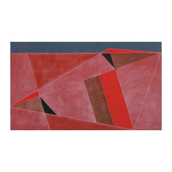 Quadro -Triangulated Red Landscape, 2002 (oil on board)-