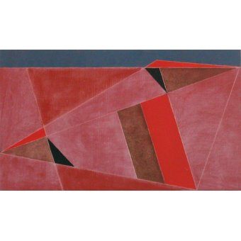 Quadros abstratos - Quadro -Triangulated Red Landscape, 2002 (oil on board)- - Dannatt, George