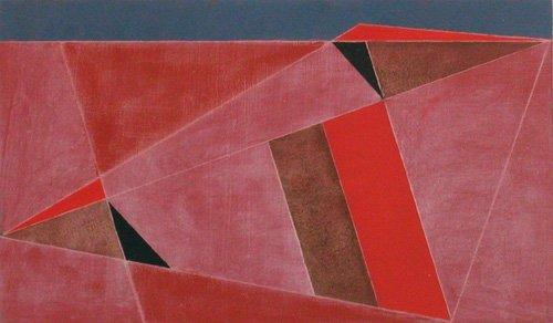 quadros-abstratos - Quadro -Triangulated Red Landscape, 2002 (oil on board)- - Dannatt, George
