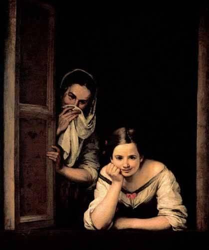 cuadros de retrato - Cuadro -Gallegas en la ventana- - Murillo, Bartolome Esteban