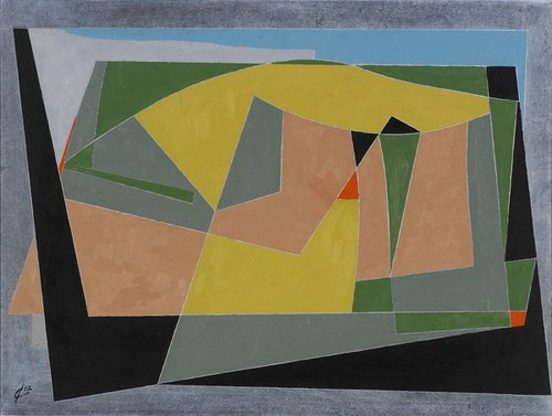 quadros-abstratos - Quadro -A Landscape by the Sea, 2007 (oil on board)- - Dannatt, George