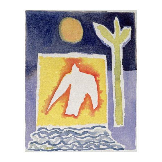 Quadro -Tree, Sun and Rising Bird, 1989 (w.c)-