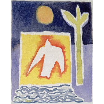 Quadros abstratos - Quadro -Tree, Sun and Rising Bird, 1989 (w.c)- - Davidson, Peter