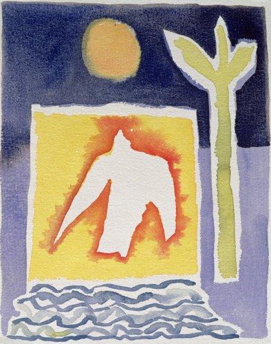 quadros-modernos - Quadro -Tree, Sun and Rising Bird, 1989 (w.c)- - Davidson, Peter