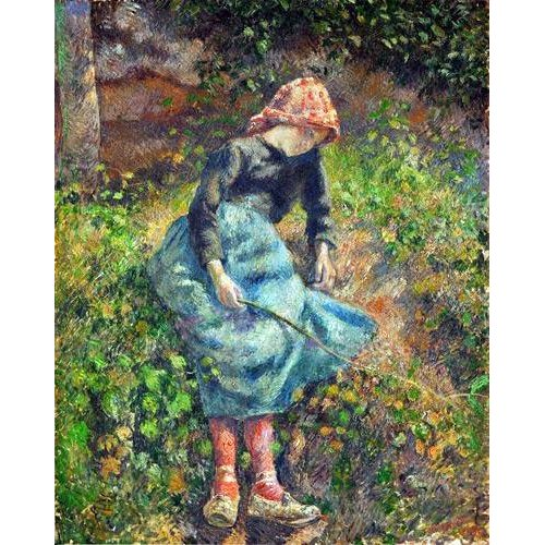 pinturas do retrato - Quadro -Joven con una varita, 1881-