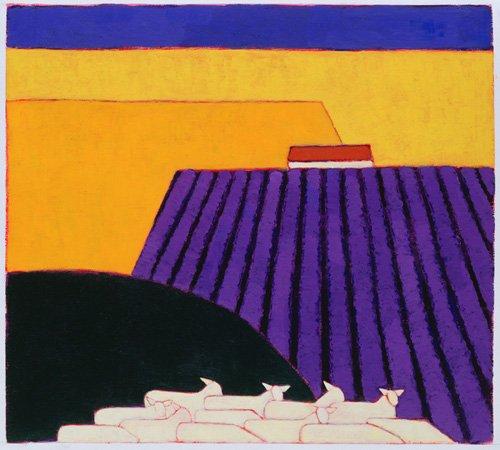 quadros-modernos - Quadro -Sheep and Lavender Fields, 2004- - Donne, Eithne