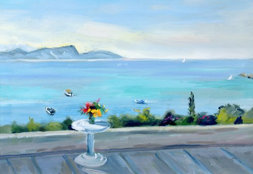 quadros-de-paisagens-marinhas - Quadro -A terrace looking out to sea- - Durham, Anne