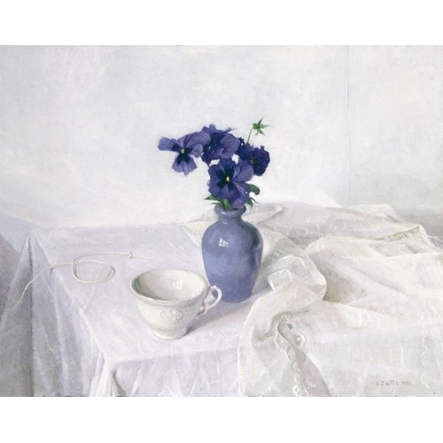 Quadro -Pansies in a Blue Vase, Still Life, 1990-