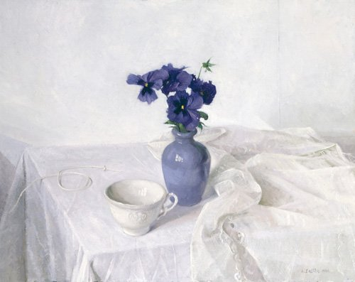 naturezas-mortas - Quadro -Pansies in a Blue Vase, Still Life, 1990- - Easton, Arthur