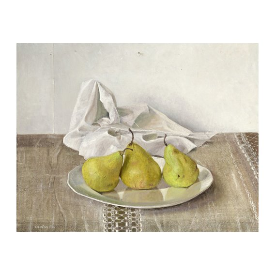 Quadro -Three Pears on a Plate, Still Life, 1990-