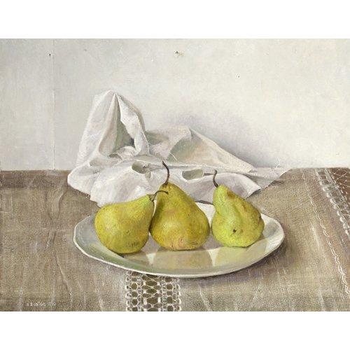 Quadro -Three Pears on a Plate, Still Life, 1990-