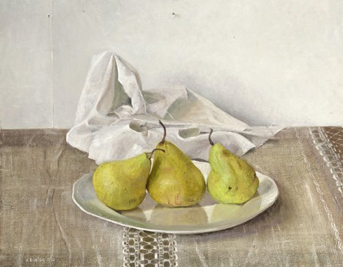 naturezas-mortas - Quadro -Three Pears on a Plate, Still Life, 1990- - Easton, Arthur