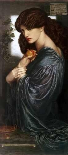 pinturas-de-retratos - Quadro -Proserpina- - Rossetti, Dante Gabriel
