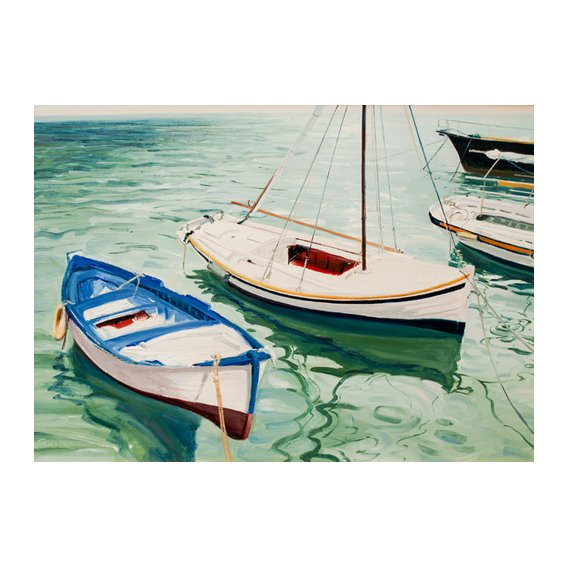 Quadro -Boats at Skiathos, Greece-