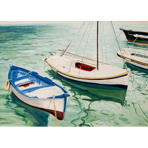 Quadro -Boats at Skiathos, Greece-