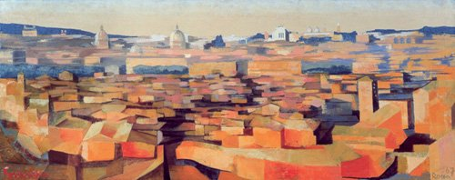 quadros-modernos - Quadro -Rome, View from the Spanish Academy on the Gianicolo, Dusk, 1968- - Godlewska de Aranda, Izabella