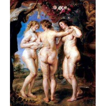 quadros nu artistico - Quadro -Las tres gracias- - Rubens, Peter Paulus
