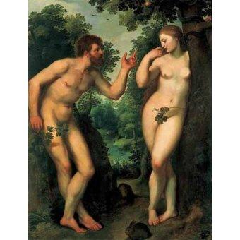quadros nu artistico - Quadro -Adão e Eva- - Rubens, Peter Paulus