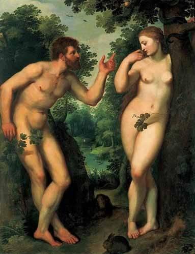 pinturas-de-retratos - Quadro -Adán y Eva- - Rubens, Peter Paulus