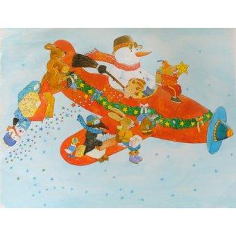 quadros infantis - Quadro -Chistmas Airplane with Snowman- - Kaempf, Christian