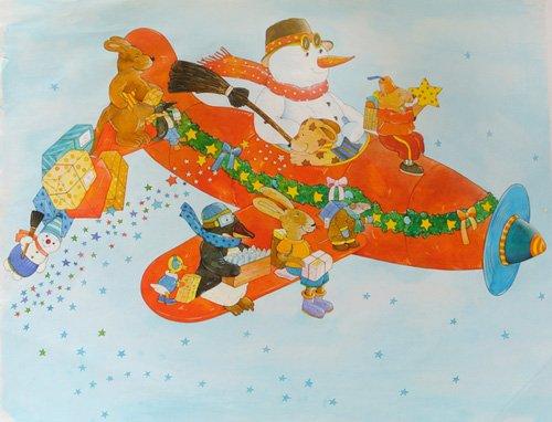 quadros-infantis - Quadro -Chistmas Airplane with Snowman- - Kaempf, Christian