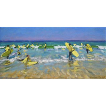 quadros de paisagens marinhas - Quadro - Surf School at St. Ives (oil on canvas) - - Macara, Andrew