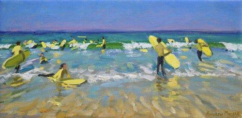 quadros-de-paisagens-marinhas - Quadro - Surf School at St. Ives (oil on canvas) - - Macara, Andrew