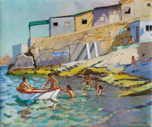 quadros-de-paisagens-marinhas - Quadro -The rowing boat,Valetta,Malta,2015- - Macara, Andrew