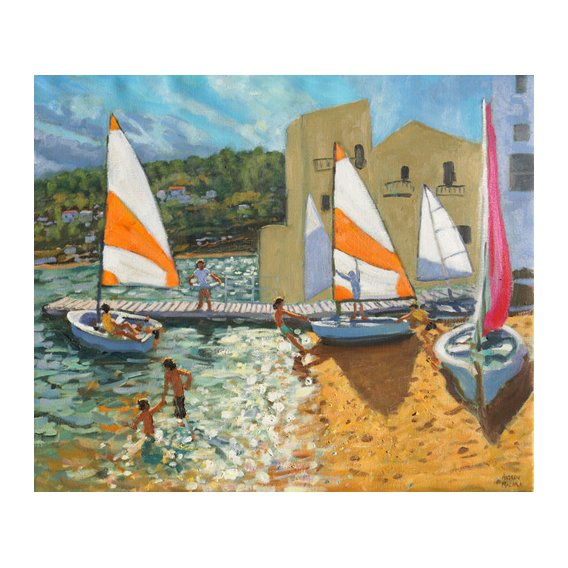 Quadro -Launching boats,Calella de Palafrugell,Spain-
