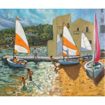 - Quadro -Launching boats,Calella de Palafrugell,Spain- - Macara, Andrew