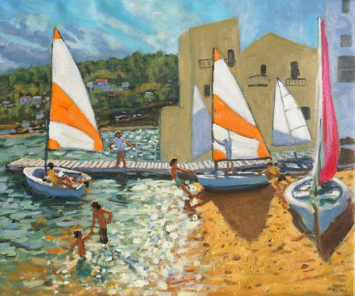 quadros-de-paisagens-marinhas - Quadro -Launching boats,Calella de Palafrugell,Spain- - Macara, Andrew