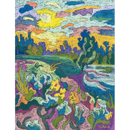 Quadro -Blooming River Bank, 2009 (pastel on paper)-