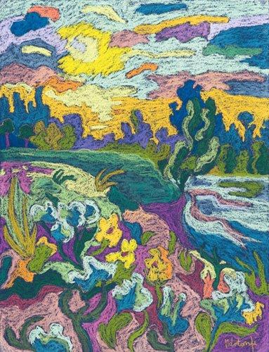quadros-de-paisagens - Quadro -Blooming River Bank, 2009 (pastel on paper)- - Martonfi-Benke, Marta