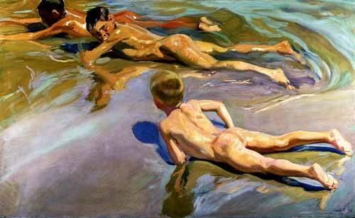 pinturas-de-retratos - Quadro -Niños en la playa- - Sorolla, Joaquin