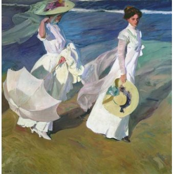 pinturas de retratos - Quadro -Paseo a orillas del mar- - Sorolla, Joaquin