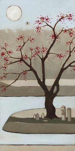 quadros-de-paisagens - Quadro  - Cherry Tree, Winter, 2013, (oil on wood panel) - - Moore, Megan