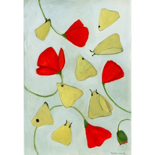 Quadro  - Poppies & Moths, 2015 (gouache on paper) -