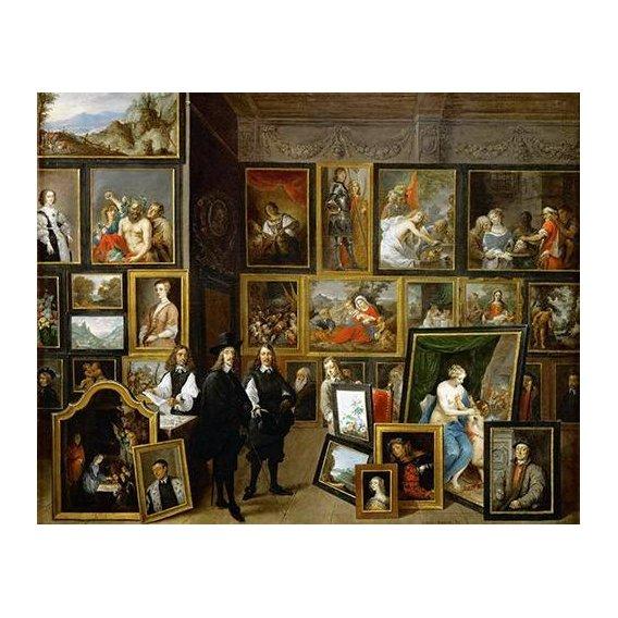 pinturas do retrato - Quadro -Visita del Archiduque Leopoldo Guillermo al taller de Teniers-