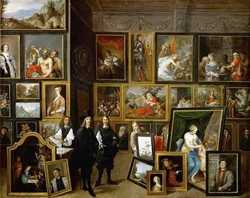 pinturas-de-retratos - Quadro -Visita del Archiduque Leopoldo Guillermo al taller de Teniers- - Teniers, David