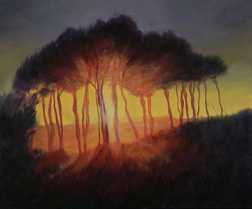 quadros-modernos - Quadro -Wild Trees at Sunset, 2002 (oil on canvas)- - Myatt, Antonia