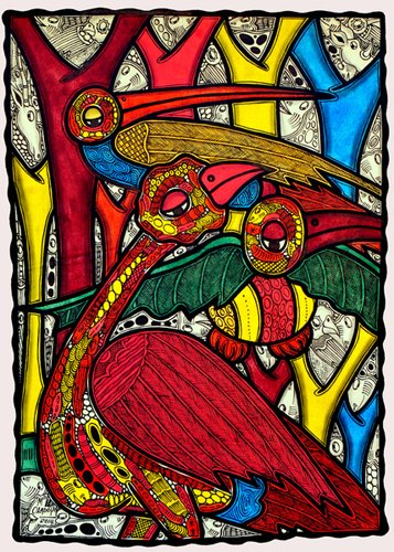 quadros-para-sala - Quadro - Bird life, 2013 (ink on canvas) - - Oladoja, Muktair