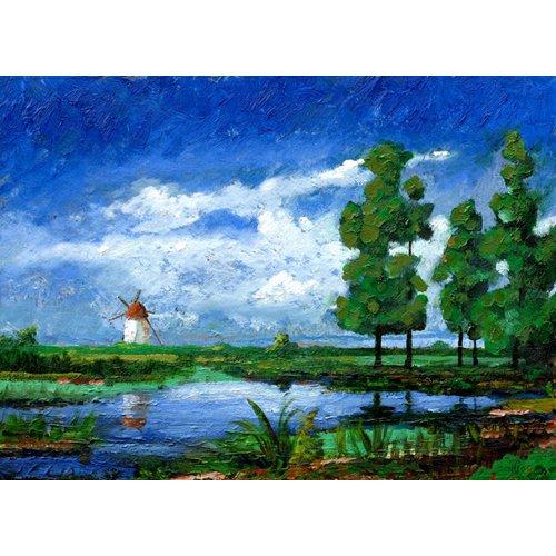 Quadro -Windmill, Holland, 2006 (oil on board)-